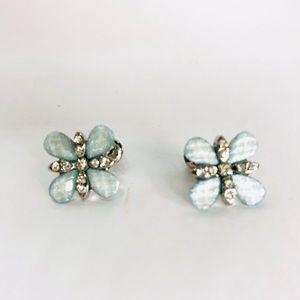 New!Blue Crystals Rhinestones Flower Stud Earrings